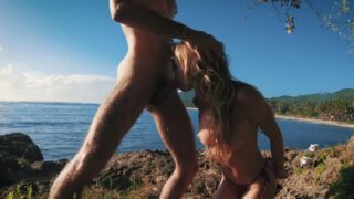 Blond teen pussy blowjob on a beach