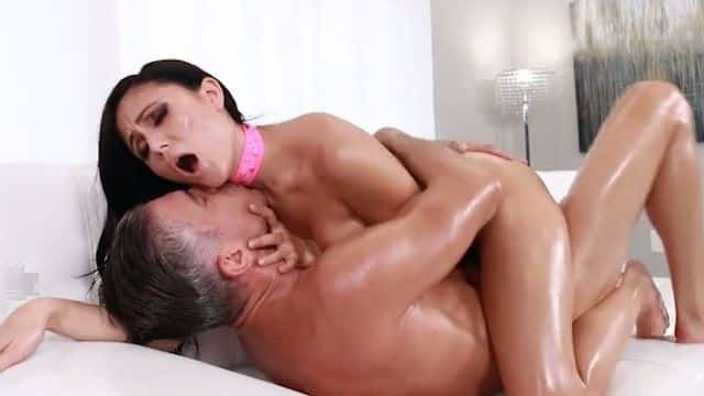Oiled pussy and anal sex with Ariana Marie